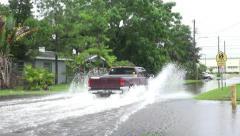Pickup Truck Drives Thru Flooded Neighborhood Street In Gulfport Florida Stock Footage