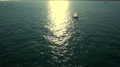 Yacht at the sea side sunset Stock Footage