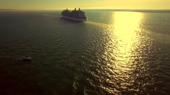Cruise ship leaving the port - stock footage