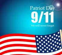 Patriot Day the 11/9 Label, We Will Never Forget  Vector Illustr - stock illustration