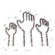 People  shape  raised hands Stock Illustration
