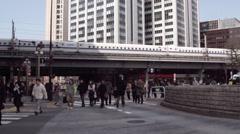 Hibiya Station Crosswalk in Tokyo Stock Footage