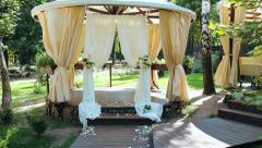 Decoration of the wedding secular  ceremony outdoor Stock Footage