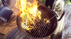 Big yellow flame on a barbeque Stock Footage