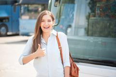 Attractive young woman is enjoying her journey - stock photo