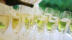 Stock Video Footage of secular festive gala celebratory buffet, drinks poured into glasses