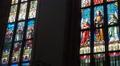 Beautiful painted leadlight windows catholic church Hallstatt HD Footage