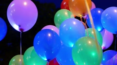 Glow multicolored balloons in holiday,  fiesta-sequence  Stock Footage