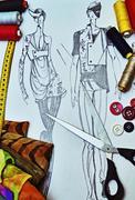 fashion model illustration design - stock photo