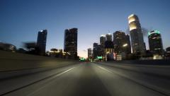 Night driving time lapse on the Santa Monica 10 Freeway in downtown Los Angel Stock Footage