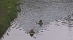 Tourists Rowing Oars in Rubber Boats Stock Footage