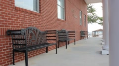 Benches outside of Liberty University's Pate Chapel Stock Footage