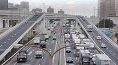 Traffic Jam Metropolitan Expressway Bayshore Route Stock Footage