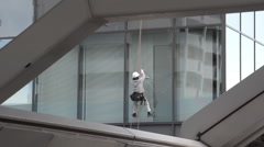 Window Cleaner in Shiodome Stock Footage