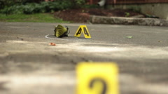 Empty Shoe on Ground at Crime Scene Stock Footage