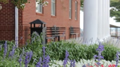 Flowers in front of the Pate Chapel at Liberty University Stock Footage
