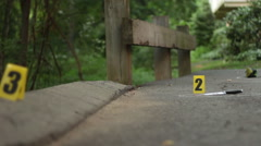 Crime Scene Markers on Ground Stock Footage