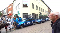 Cars from team Shimano - danish stage race for professional road bicycle racers Stock Footage