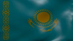 kazakhstan strong wind flag - stock footage