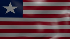 Liberia strong wind flag Stock Footage