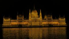 Famous parliament building in Hungarian capital Budapest from Margit bridge4K Stock Footage
