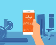 Pulse rate mobile app - stock illustration