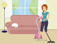 Woman doing housework Stock Illustration