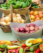 Fresh produce display at the market - stock photo