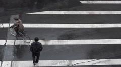 Sendai pedestrian crossing slow motion Stock Footage