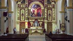 Old Spanish Church Interior , Peru South America Stock Footage