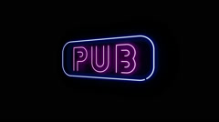 Pub Neon Sign Alpha Channel Stock Footage