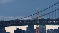 Tokyo Rainbow Bridge in the evening Stock Footage