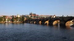 View of the Charles Bridge and St. Vitus Cathedral, Prague, Czech Republic Stock Footage