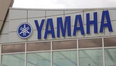 Stock Video Footage of Sign of a new Yamaha Corporation shop in Vladivostok, Russia