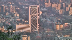 Capital from Chile with buildings and smog - stock footage