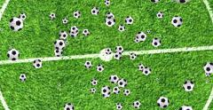 Digital animation soccer balls flying in vortex on soccer camp background Stock Footage
