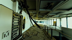 4K abandoned big business offices motion control linear tracking timelapse Stock Footage