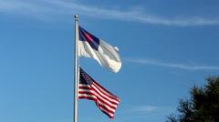The Christian flag on top US flag Stock Footage