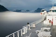 Sun Deck Cruise Ferry Boat Inside Passage Canadian Waters Stock Photos