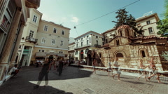 4K timelapse Kapnikarea square in Monastiraki,Athens,Greece during summer Stock Footage