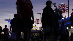 Coney Island Nighttime Summer Scene. Stock Footage