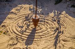Mathematical pendulum drawing on the sand - stock photo