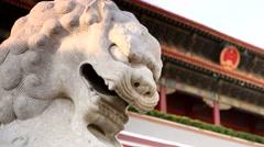 Beijing,Tiananmen,Stone lions Stock Footage