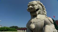 Beijing,Tiananmen,Stone lions,Elevating shooting Stock Footage
