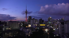 Aerial view of Auckland skyline at dusk Stock Footage