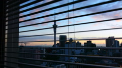 Urban view from a window of Auckland financial center skyline CBD Stock Footage