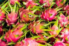 Many dragonfruit in fruit market Stock Photos
