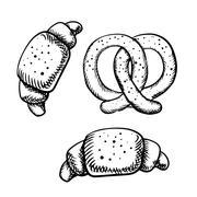 Stock Illustration of Tasty isolated croissants and pretzel