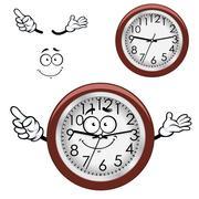 Cartoon wall clock with brown rim Stock Illustration
