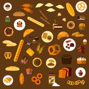 Bakery, pastry and confectionery flat icons - stock illustration